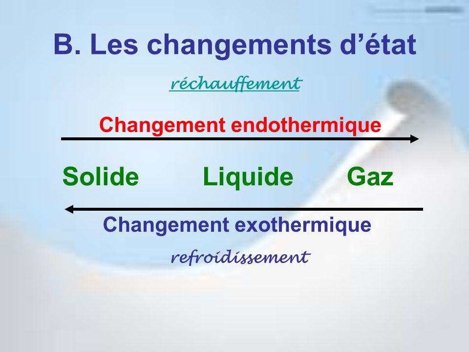 B. Les changements d'état