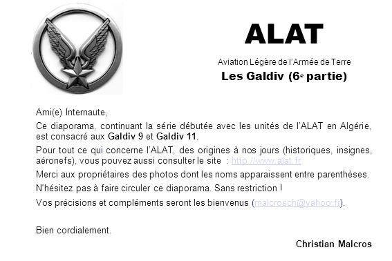 ALAT Aviation Légère de l'Armée de Terre Les Galdiv (6e partie)