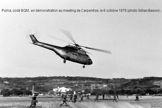 Puma, codé BQM, en démonstration au meeting de Carpentras, le 6 octobre 1976 (photo Gillian Basoni).