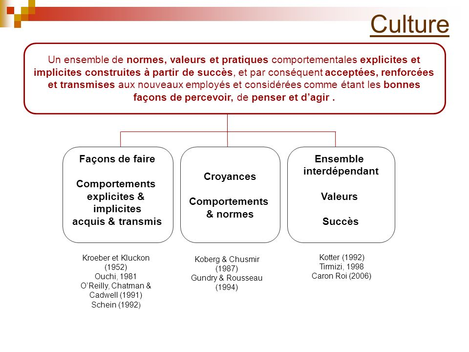 Culture Façons de faire Comportements explicites & implicites