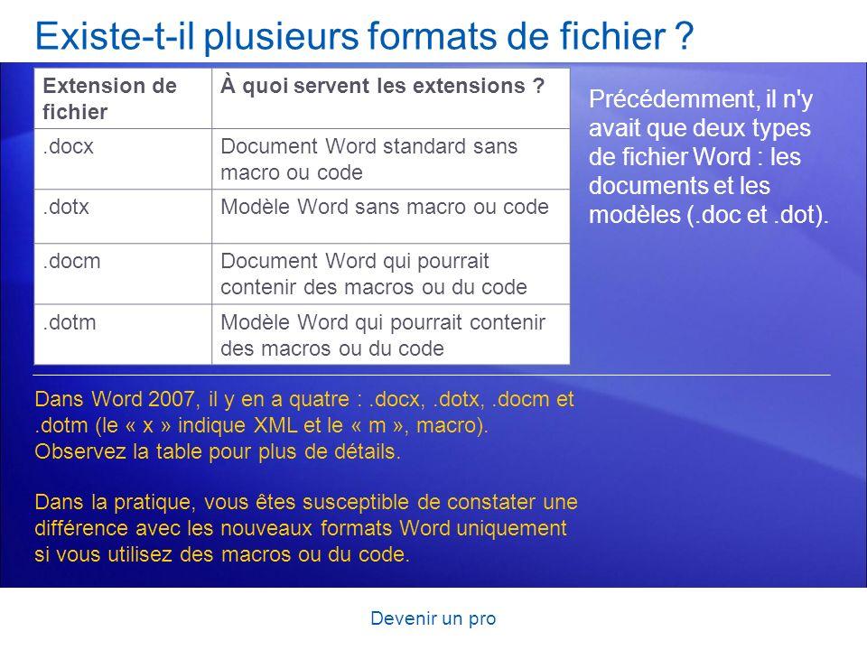 Existe-t-il plusieurs formats de fichier