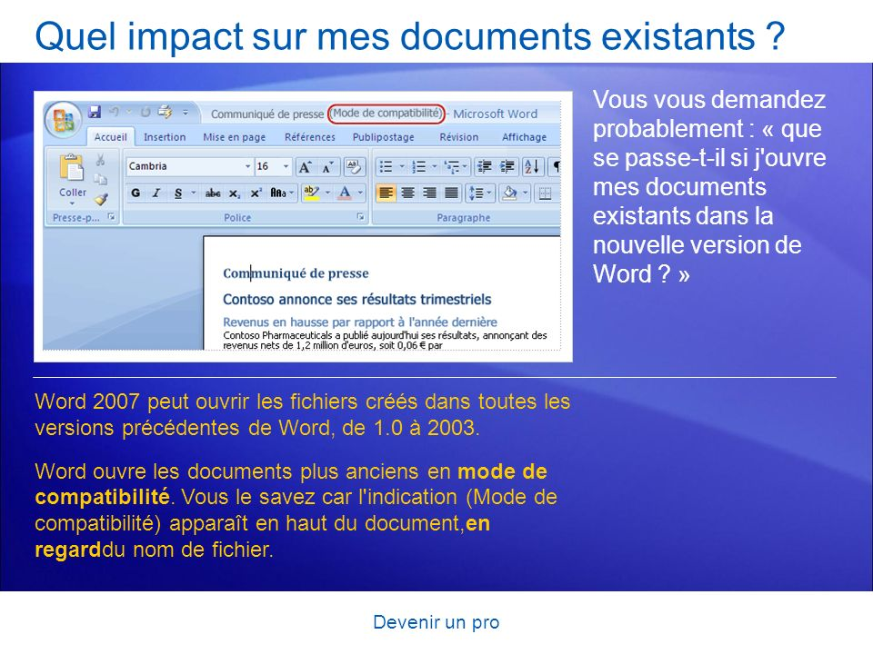Quel impact sur mes documents existants