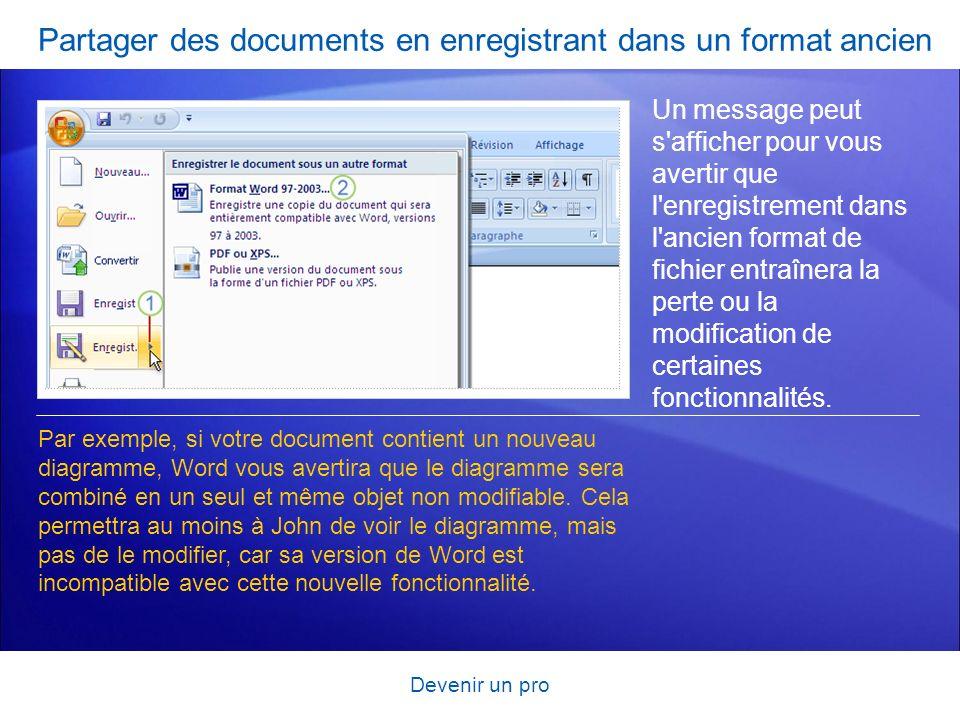 Partager des documents en enregistrant dans un format ancien