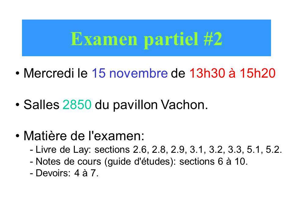 Examen partiel #2 Mercredi le 15 novembre de 13h30 à 15h20