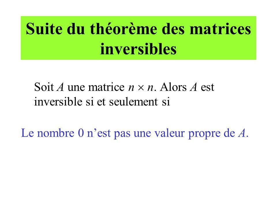 Suite du théorème des matrices inversibles