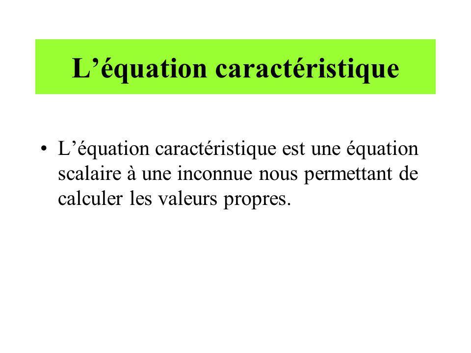 L'équation caractéristique