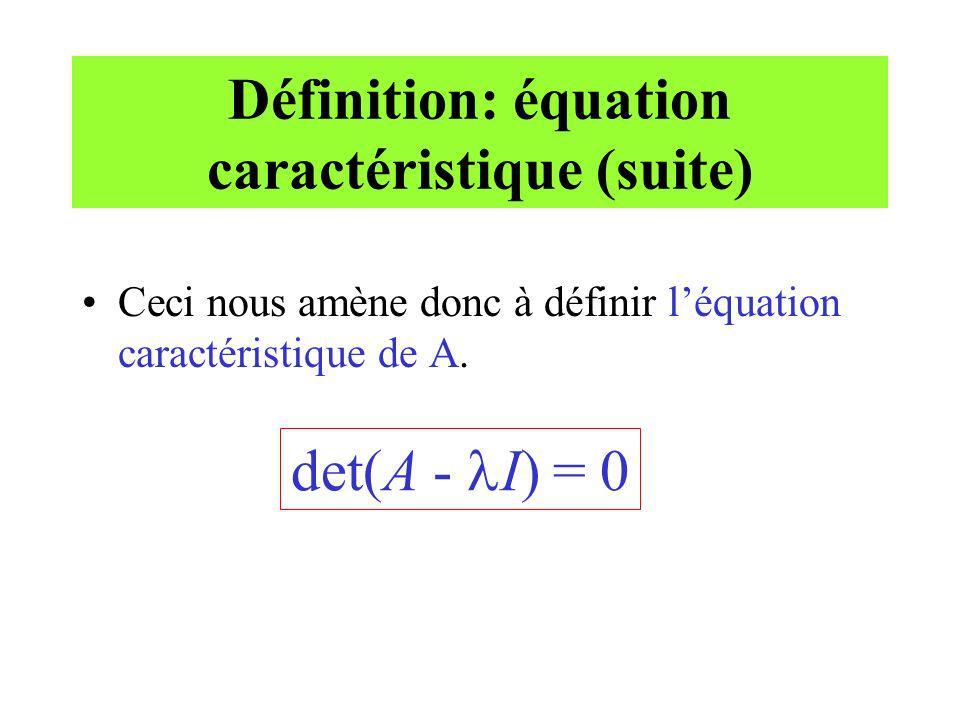 Définition: équation caractéristique (suite)