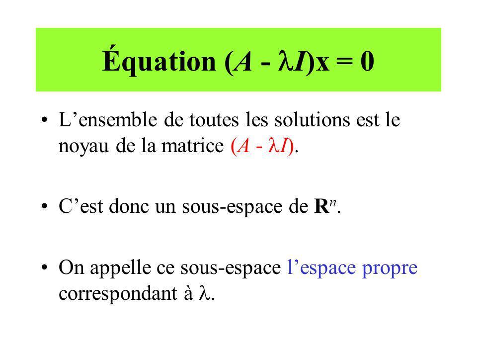 Équation (A - lI)x = 0 L'ensemble de toutes les solutions est le noyau de la matrice (A - lI). C'est donc un sous-espace de Rn.