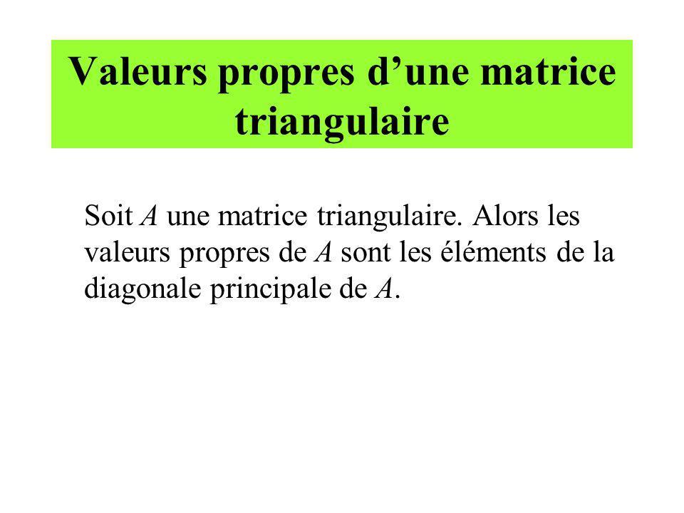 Valeurs propres d'une matrice triangulaire