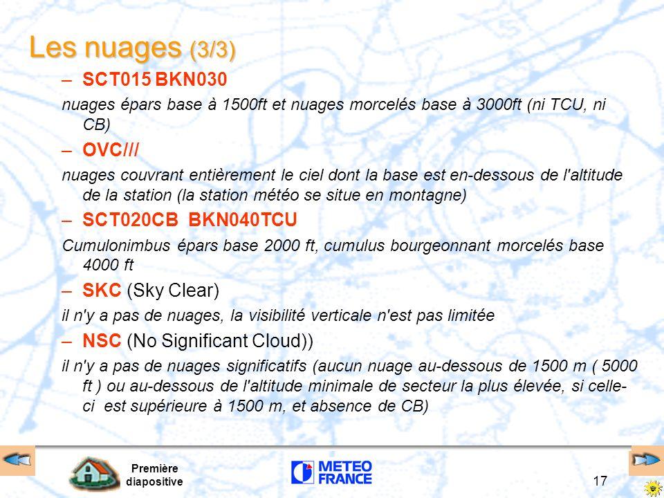 Les nuages (3/3) SCT015 BKN030 OVC/// SCT020CB BKN040TCU