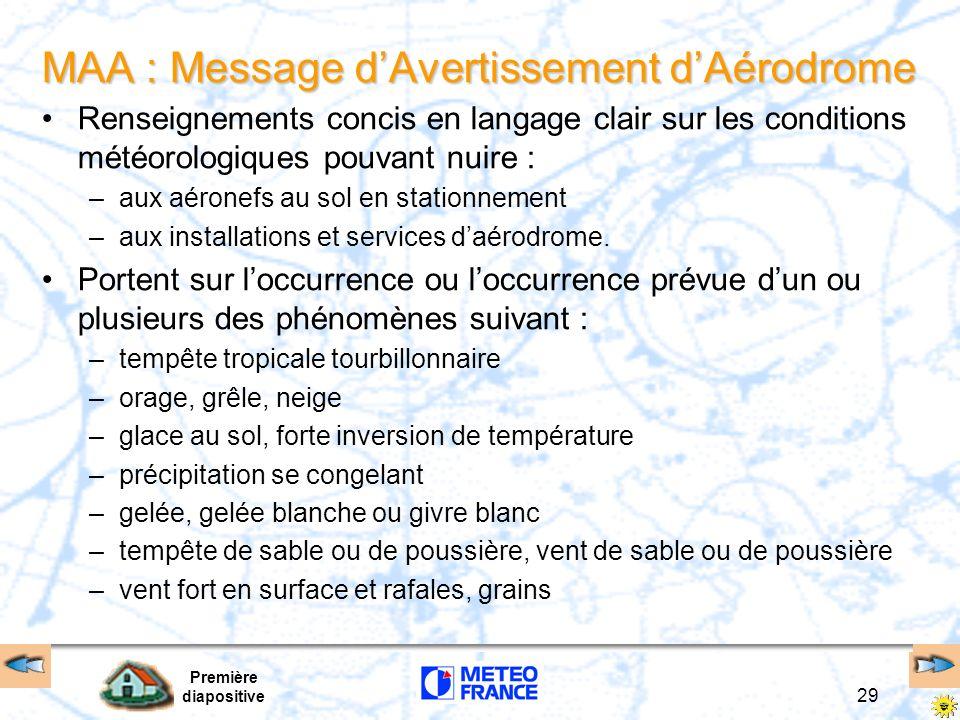 MAA : Message d'Avertissement d'Aérodrome