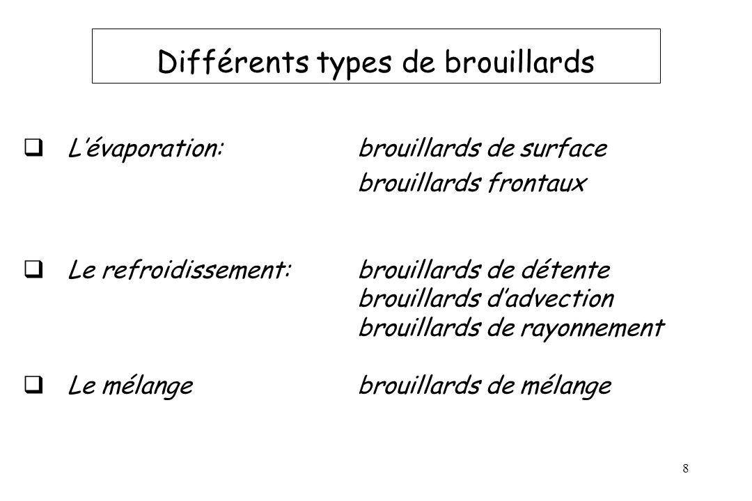 Différents types de brouillards