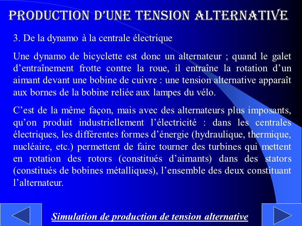 Simulation de production de tension alternative