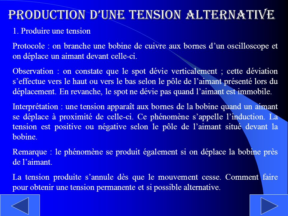 Production d'une tension alternative
