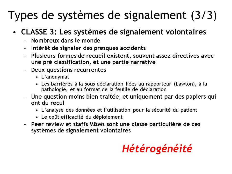Types de systèmes de signalement (3/3)