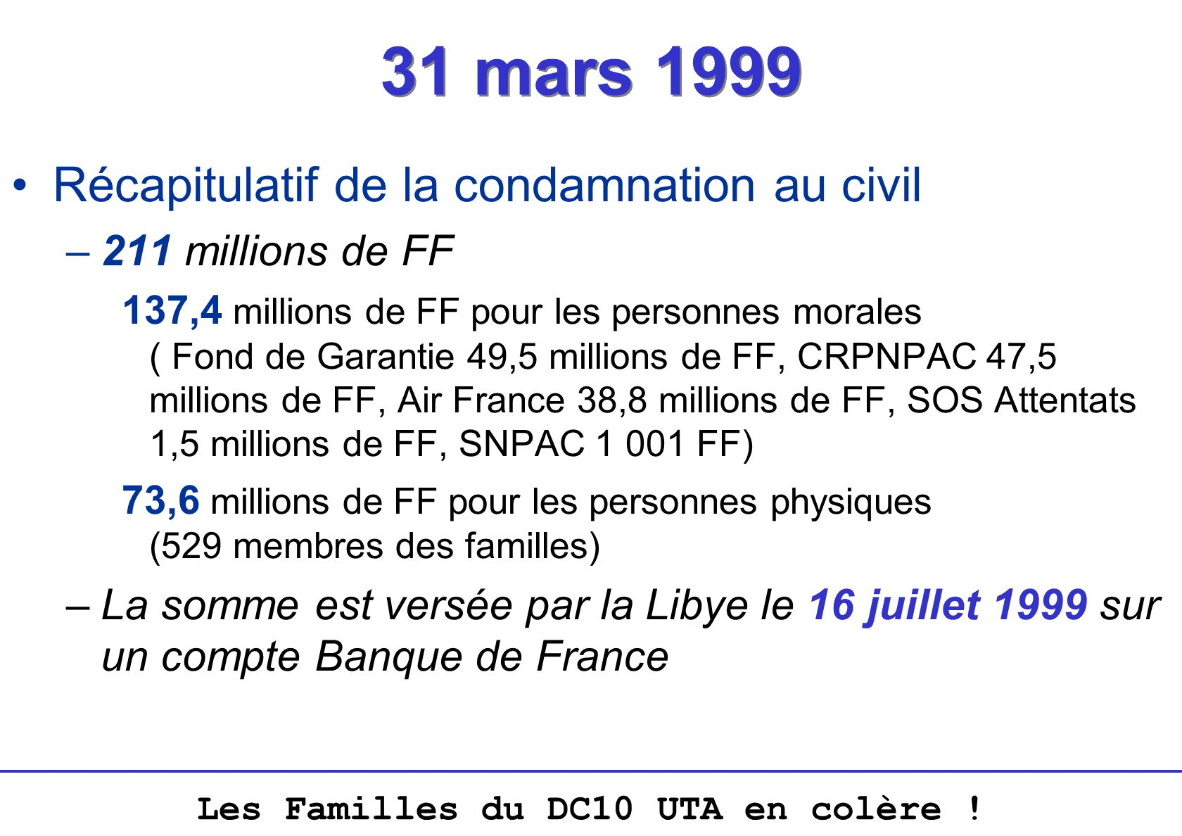 31 mars 1999 Récapitulatif de la condamnation au civil