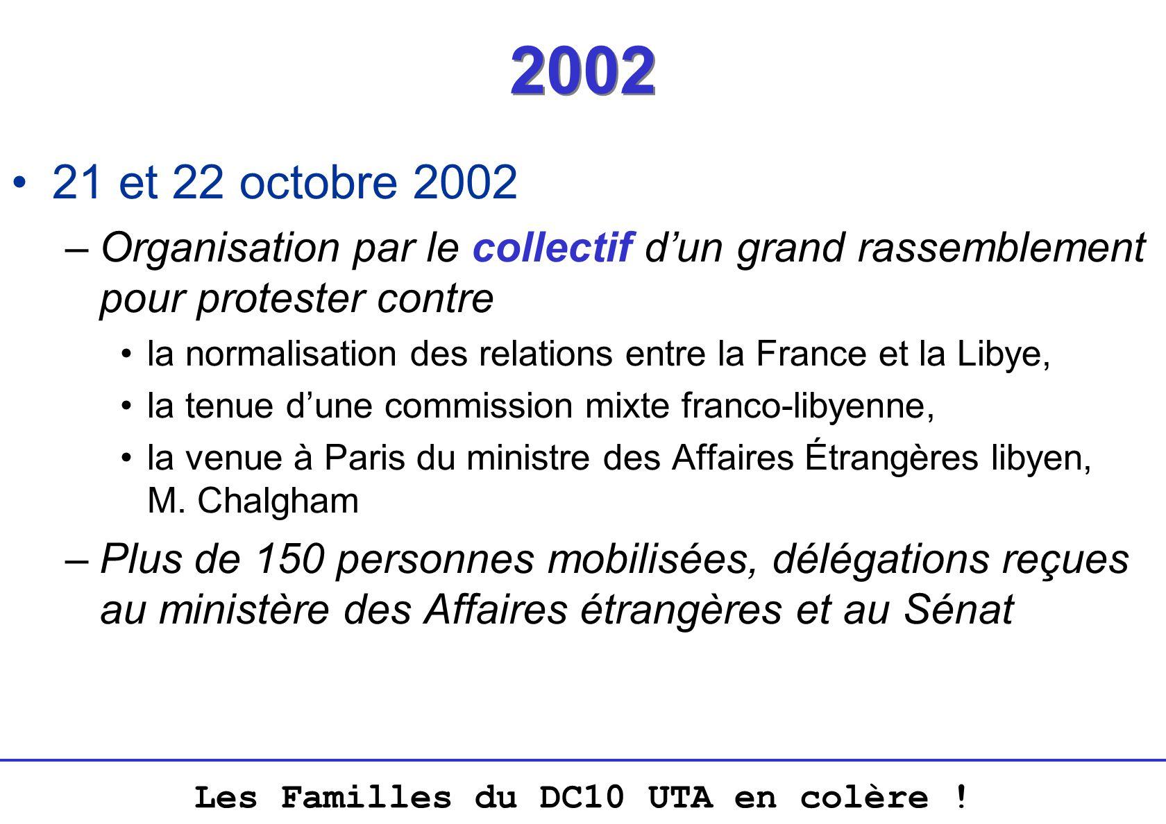 2002 21 et 22 octobre 2002. Organisation par le collectif d'un grand rassemblement pour protester contre.