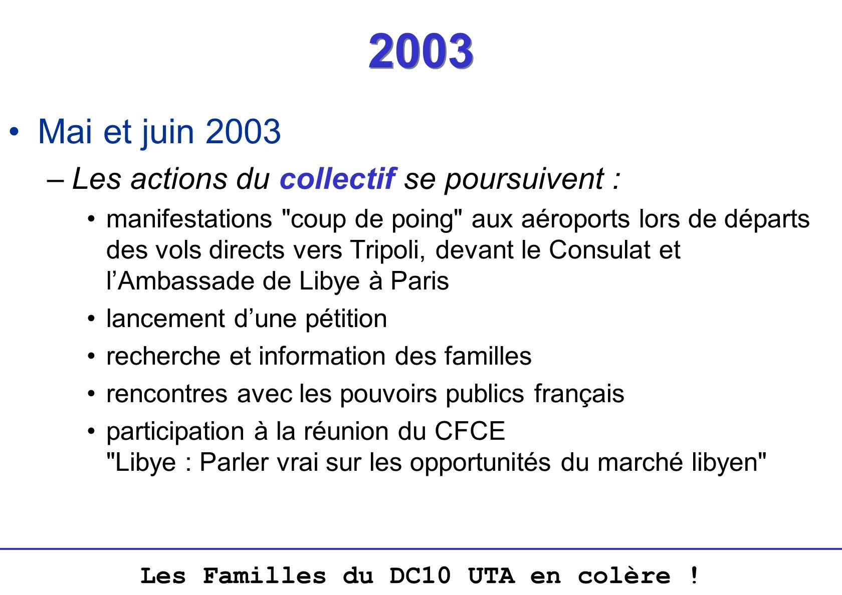 2003 Mai et juin 2003 Les actions du collectif se poursuivent :