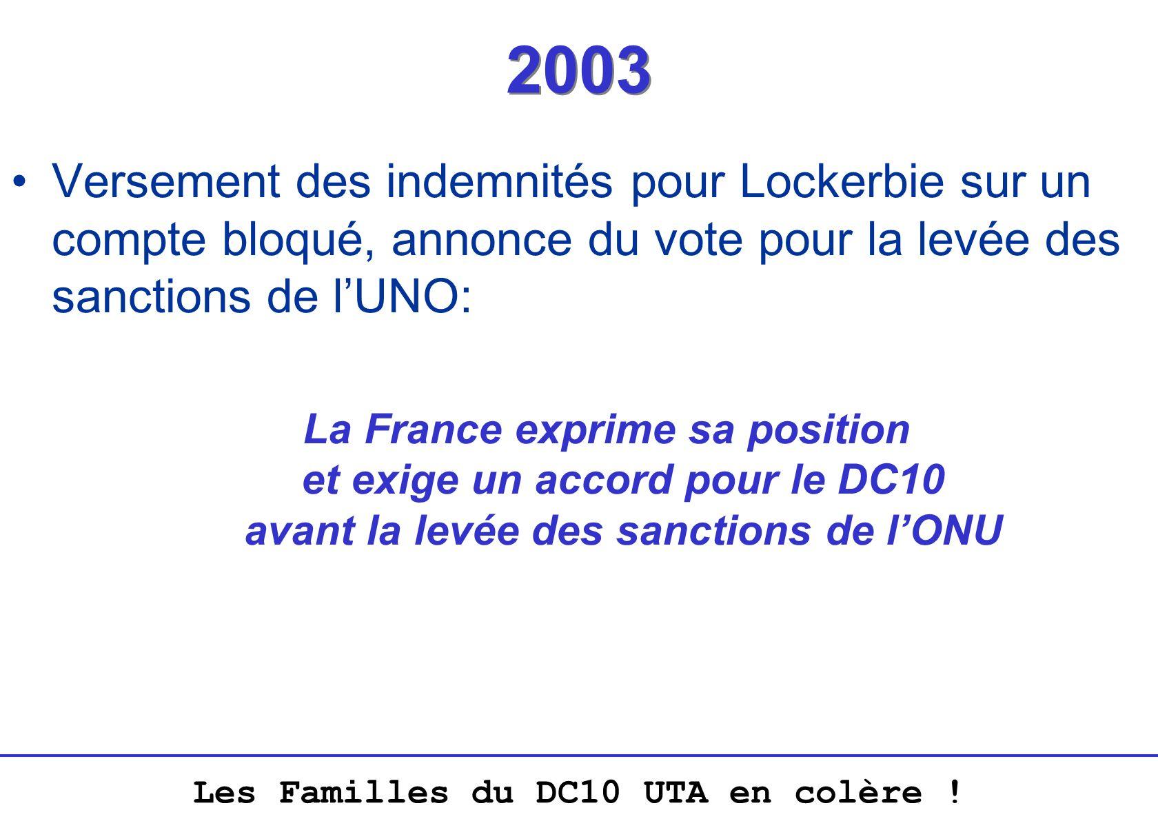 2003 Versement des indemnités pour Lockerbie sur un compte bloqué, annonce du vote pour la levée des sanctions de l'UNO: