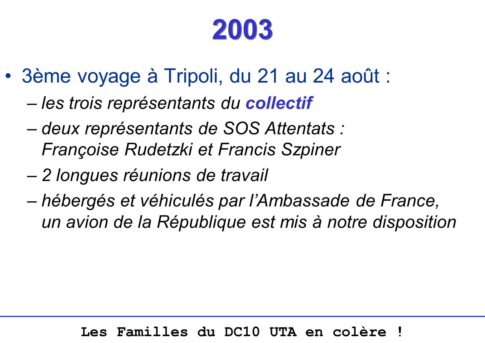 2003 3ème voyage à Tripoli, du 21 au 24 août :