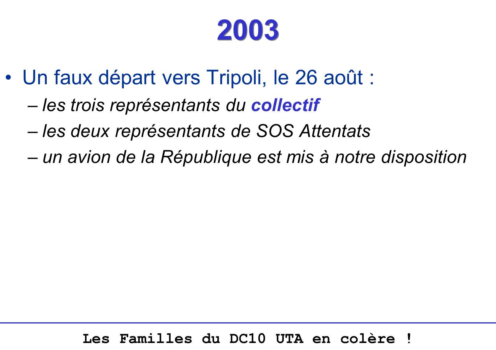 2003 Un faux départ vers Tripoli, le 26 août :
