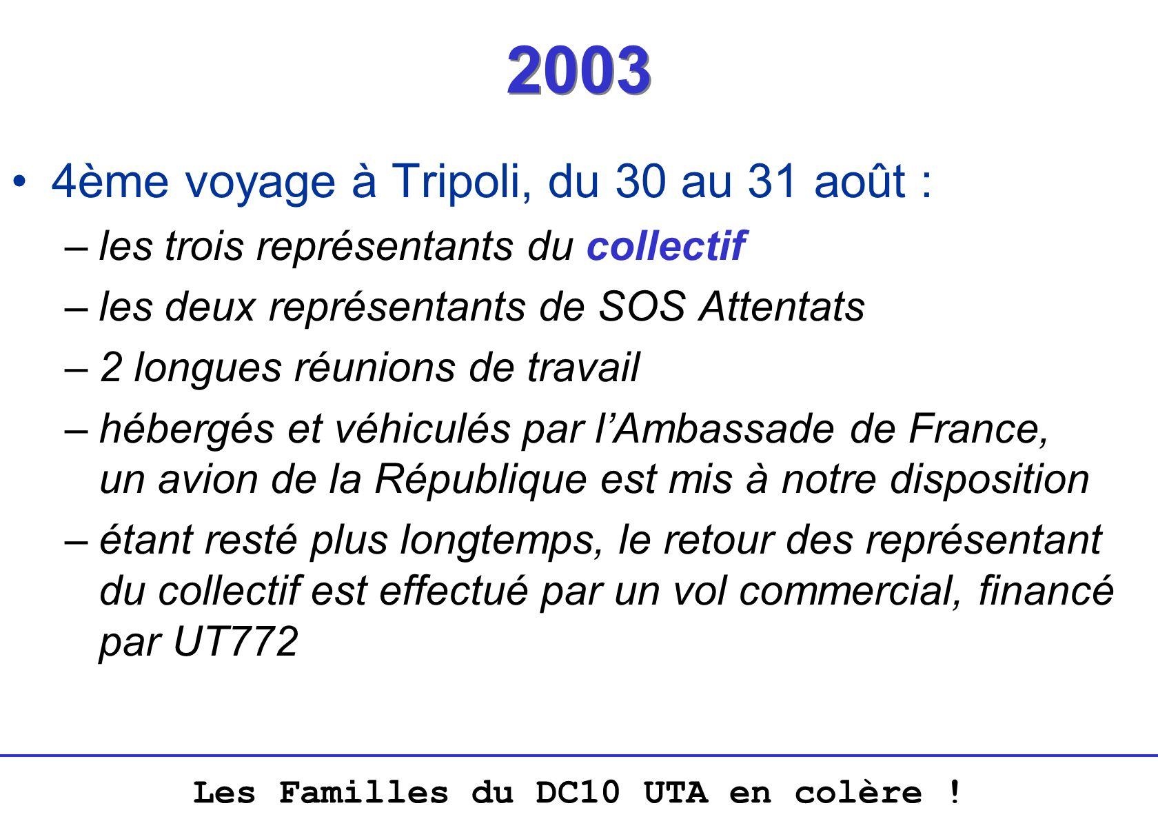 2003 4ème voyage à Tripoli, du 30 au 31 août :