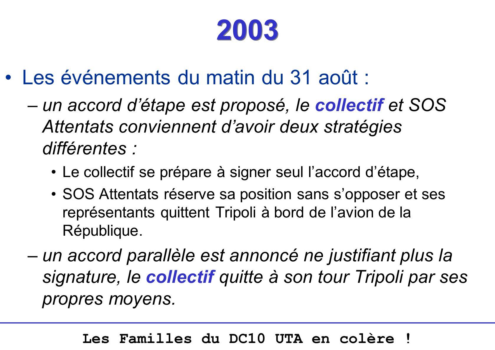 2003 Les événements du matin du 31 août :