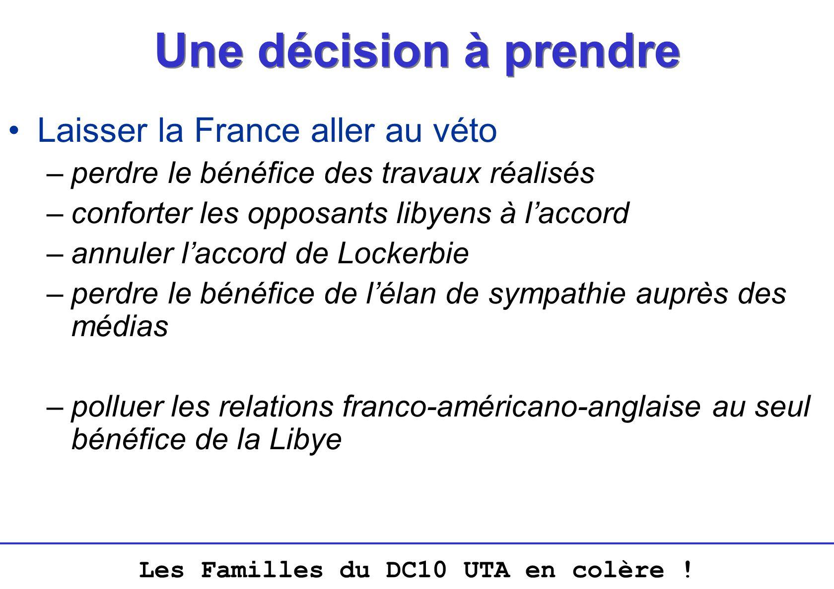 Une décision à prendre Laisser la France aller au véto