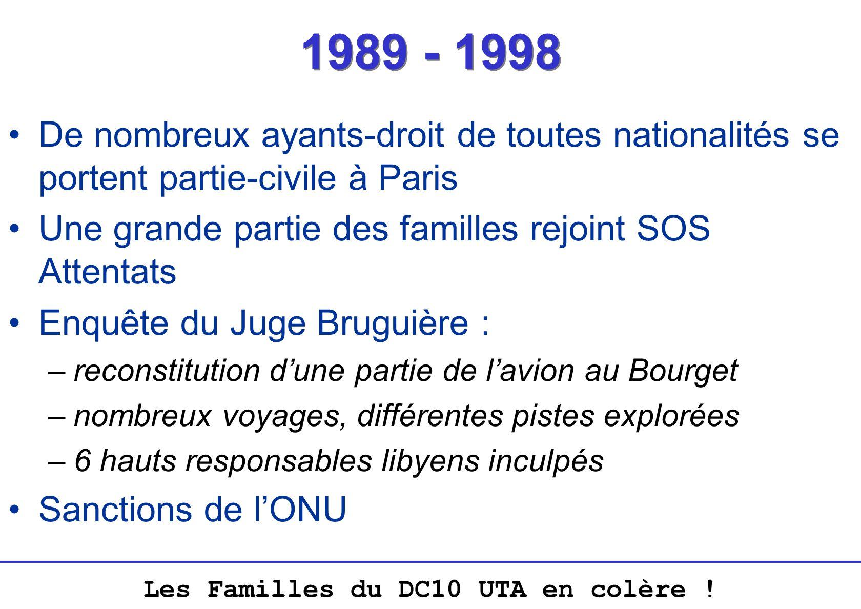 1989 - 1998 De nombreux ayants-droit de toutes nationalités se portent partie-civile à Paris. Une grande partie des familles rejoint SOS Attentats.