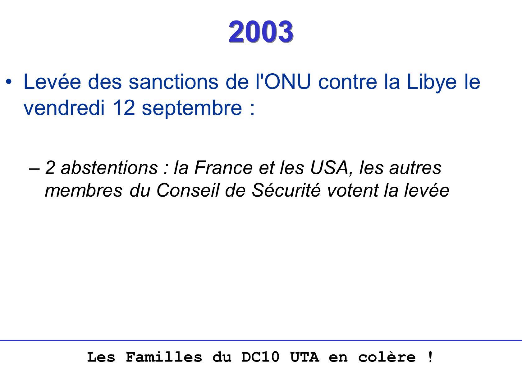 2003 Levée des sanctions de l ONU contre la Libye le vendredi 12 septembre :