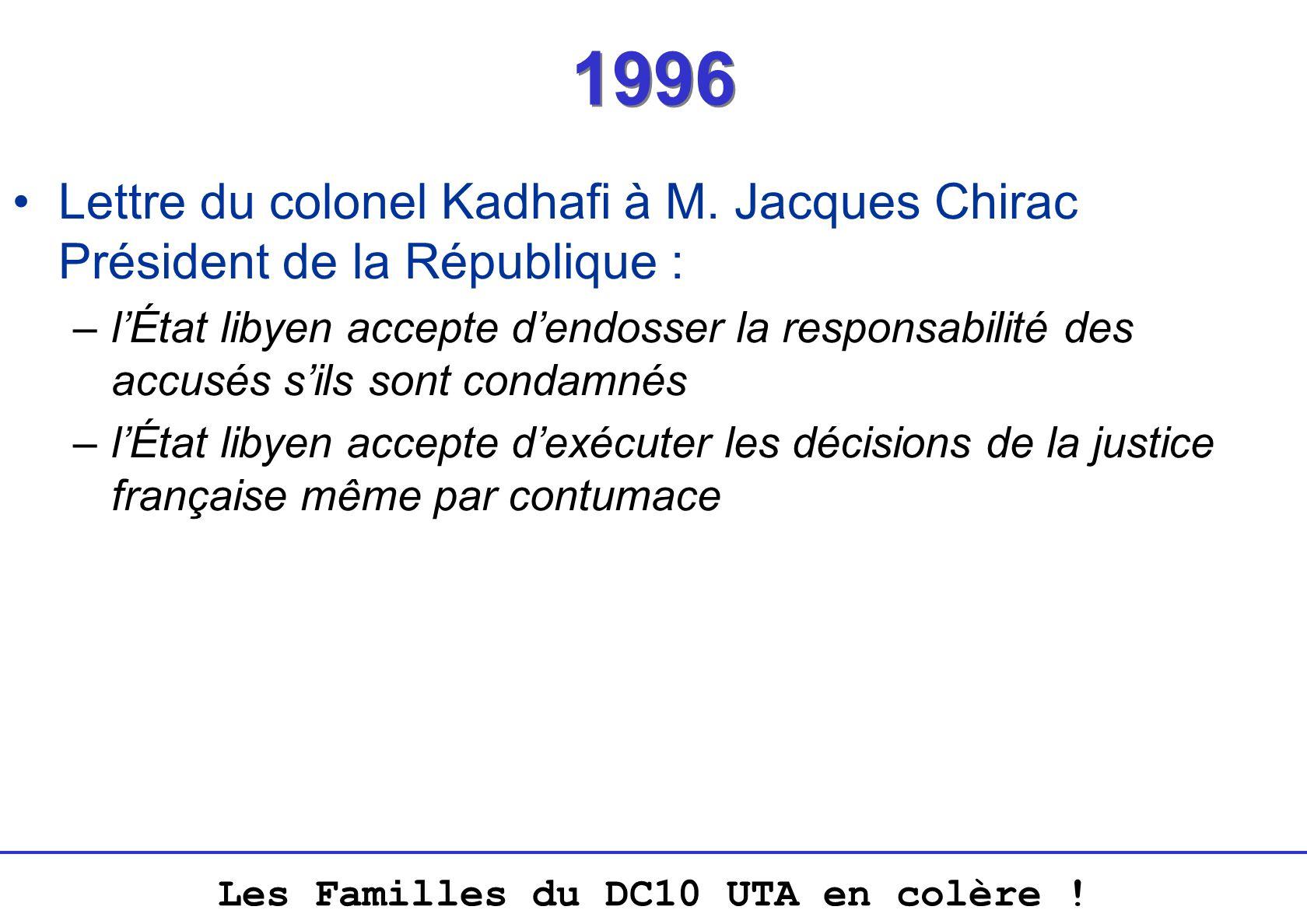 1996 Lettre du colonel Kadhafi à M. Jacques Chirac Président de la République :