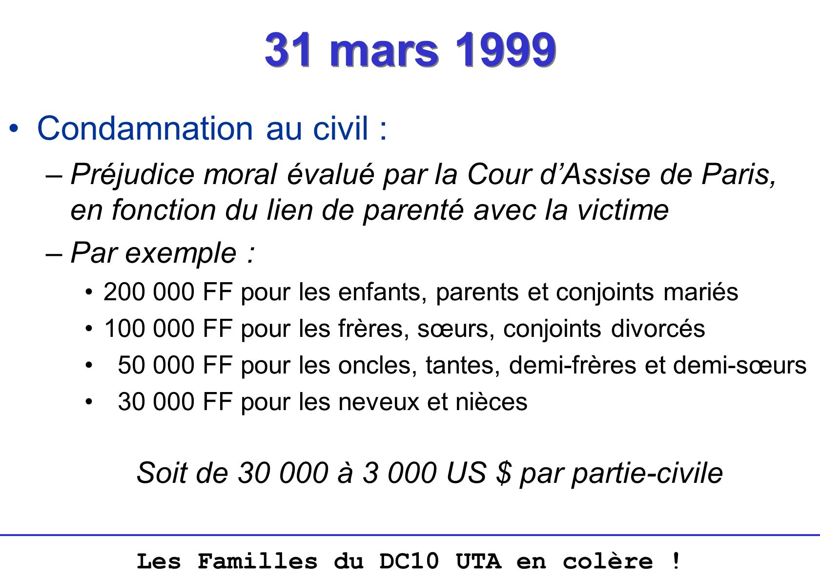 Soit de 30 000 à 3 000 US $ par partie-civile