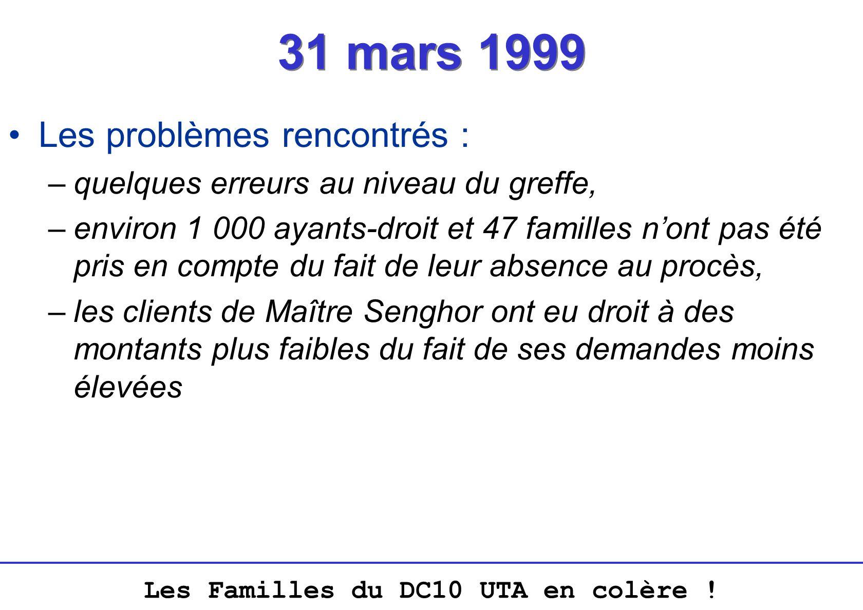 31 mars 1999 Les problèmes rencontrés :