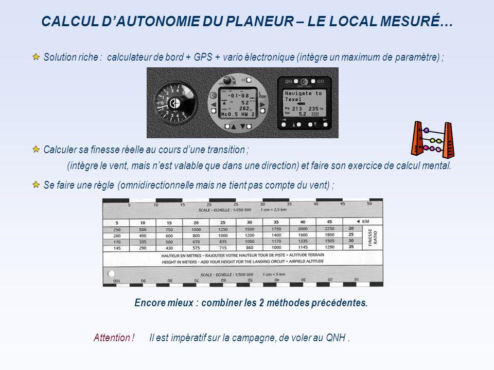 CALCUL D'AUTONOMIE DU PLANEUR – LE LOCAL MESURÉ…