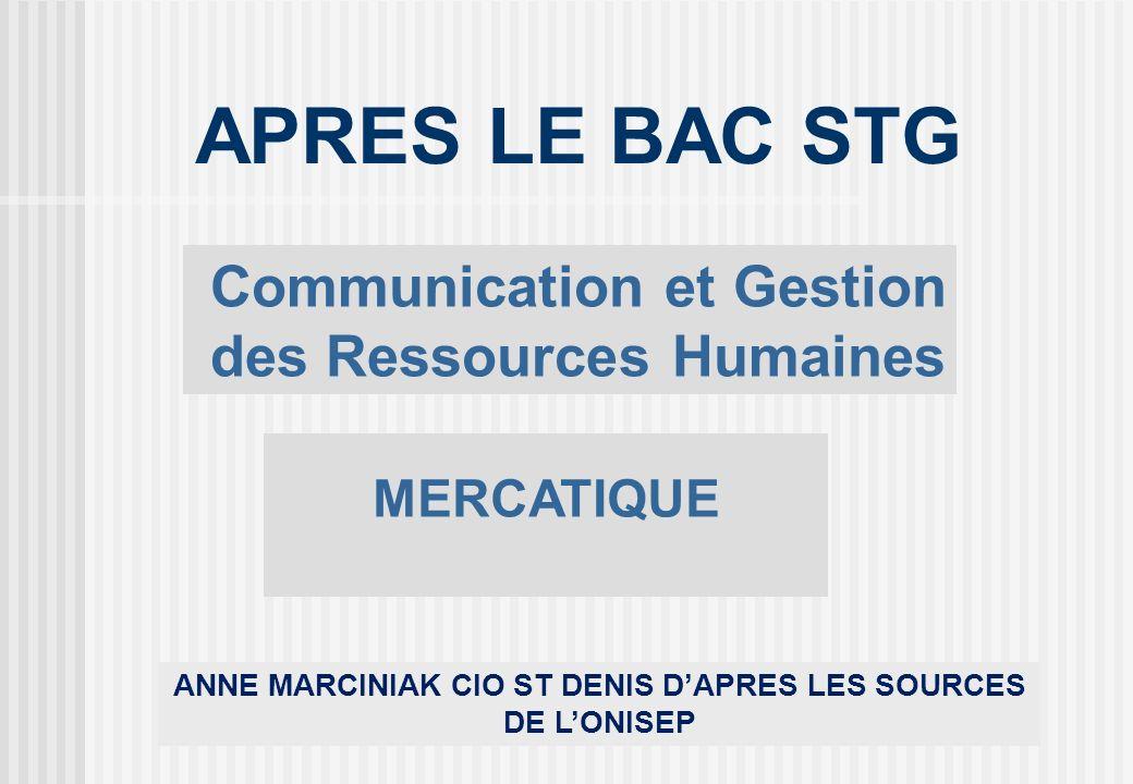 APRES LE BAC STG Communication et Gestion des Ressources Humaines