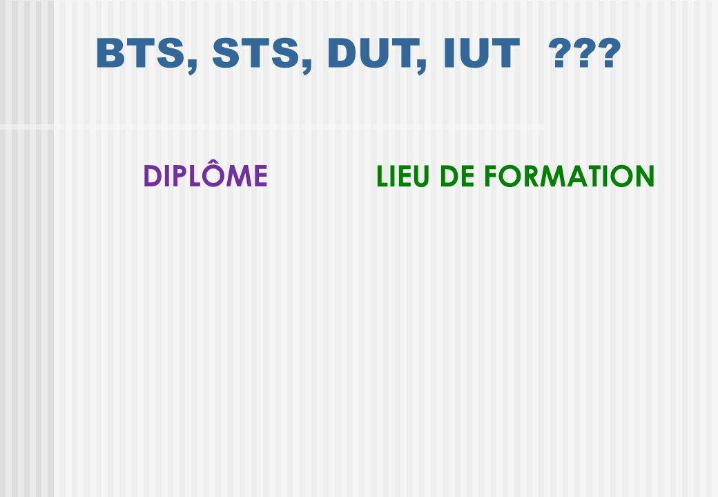 BTS, STS, DUT, IUT BTS S T S D U T I U T DIPLÔME LIEU DE FORMATION