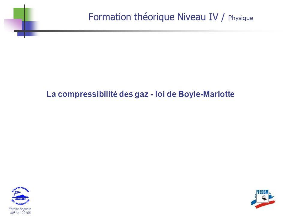 La compressibilité des gaz - loi de Boyle-Mariotte