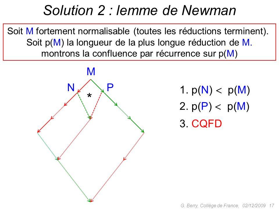 Solution 2 : lemme de Newman