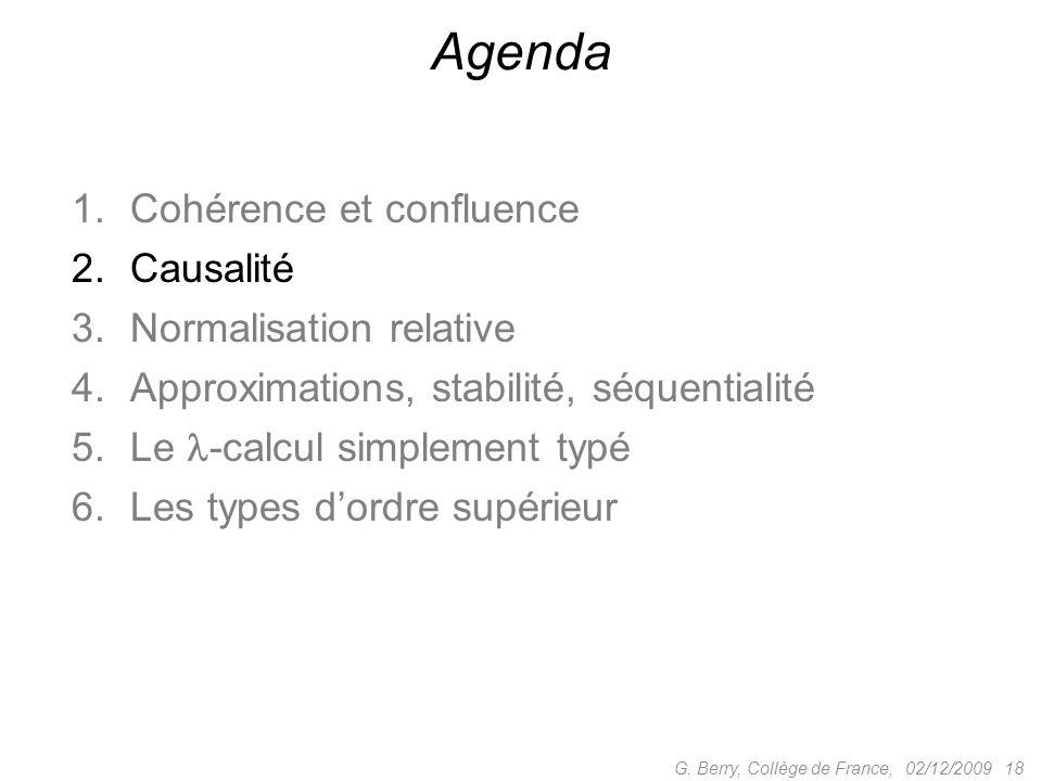 Agenda Cohérence et confluence Causalité Normalisation relative