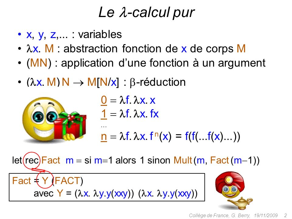 Le -calcul pur x, y, z,... : variables