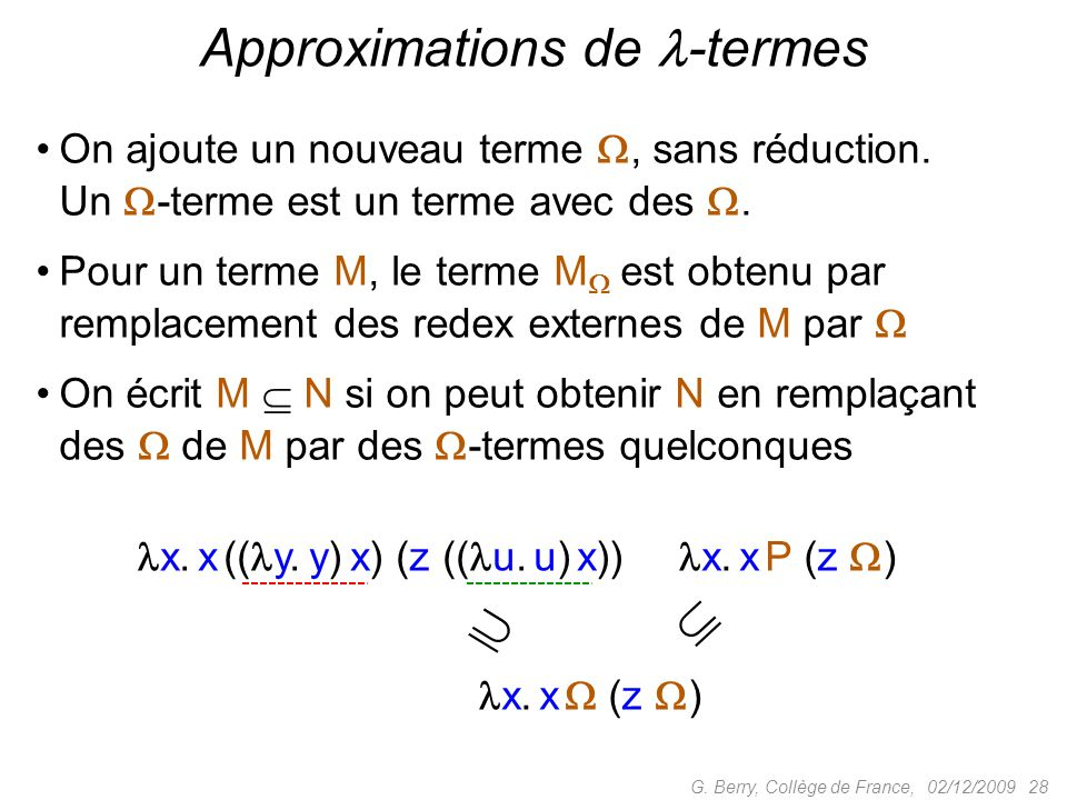 Approximations de -termes