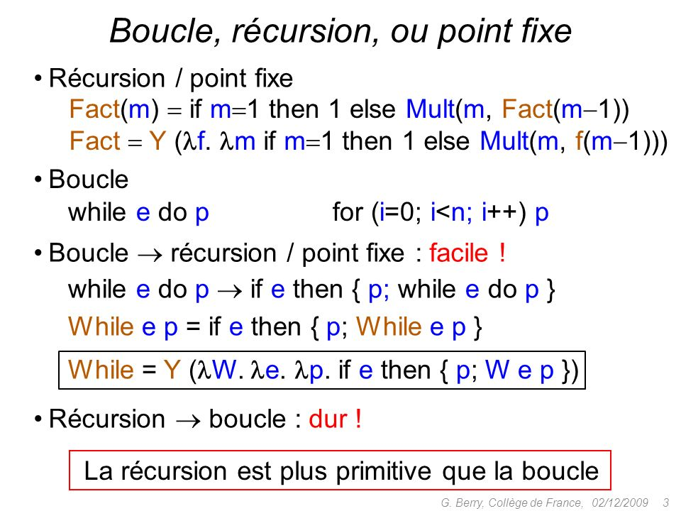 Boucle, récursion, ou point fixe