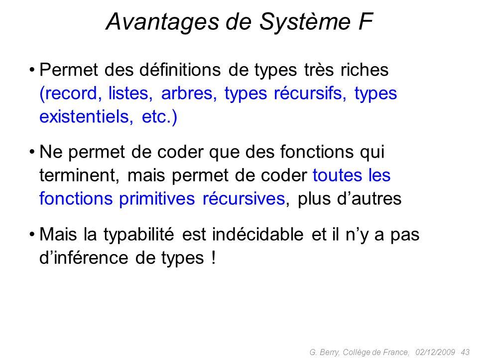 Avantages de Système F Permet des définitions de types très riches