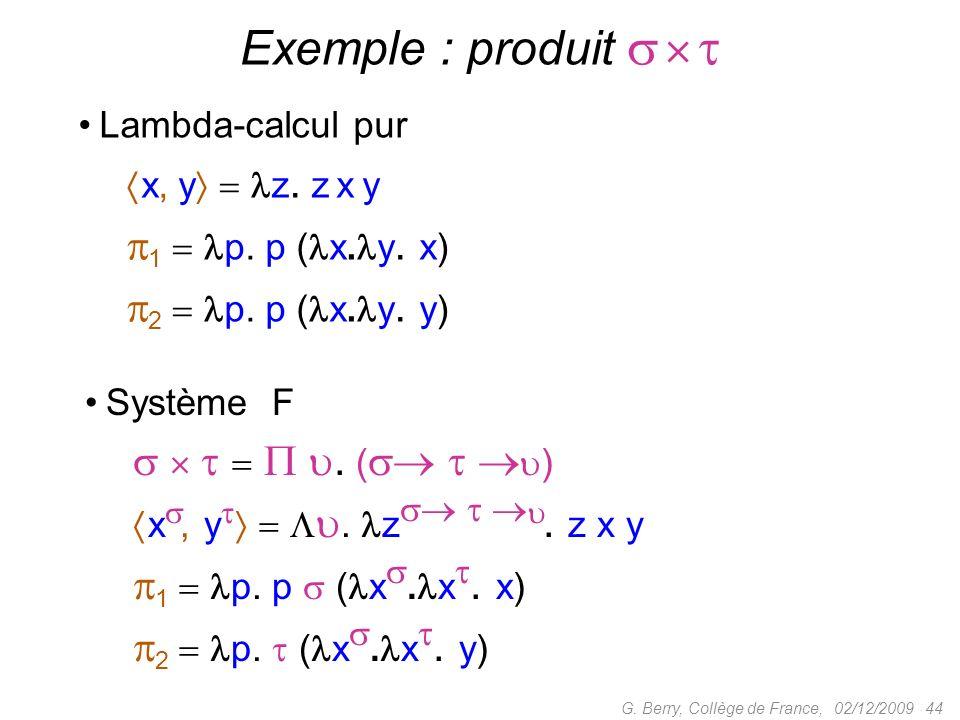 Exemple : produit    1  p. p (x.y. x) 2  p. p (x.y. y)