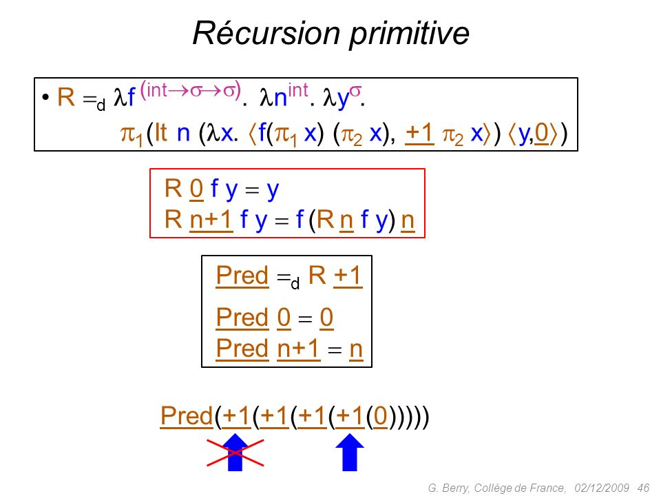 Récursion primitive R d f (int). nint. y.