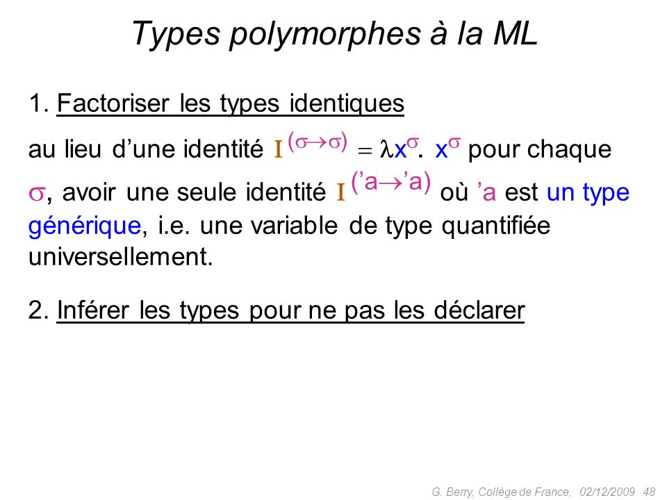 Types polymorphes à la ML