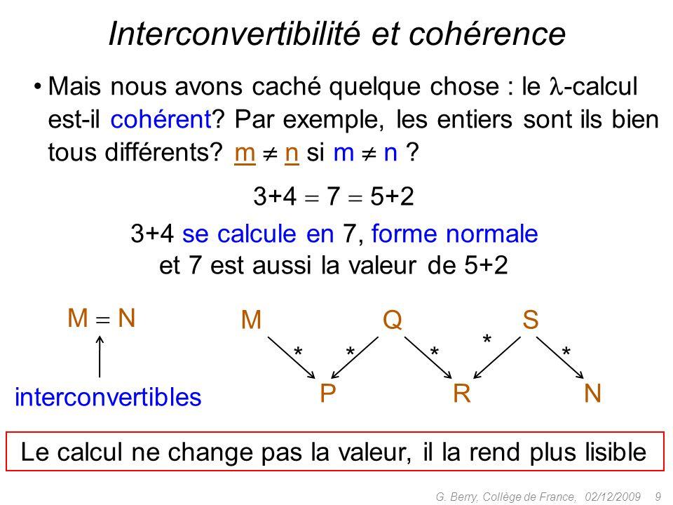 Interconvertibilité et cohérence
