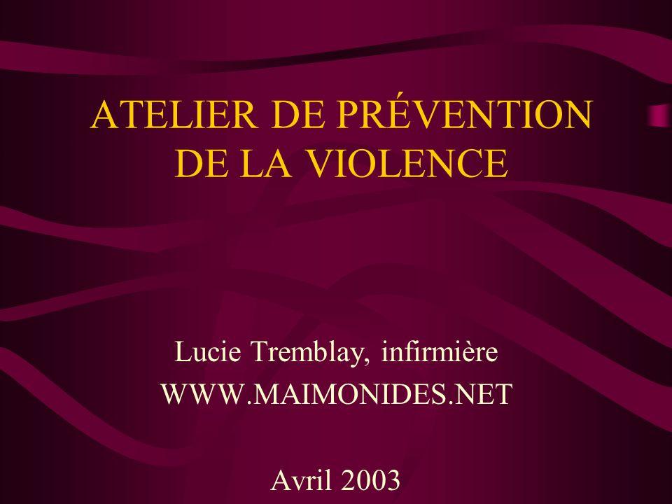 ATELIER DE PRÉVENTION DE LA VIOLENCE