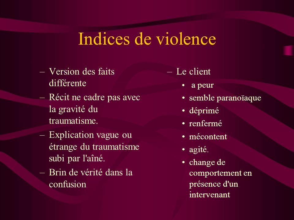 Indices de violence Version des faits différente