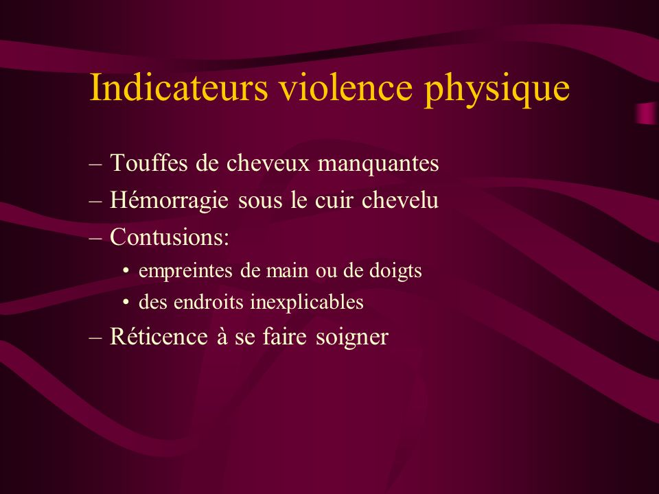 Indicateurs violence physique